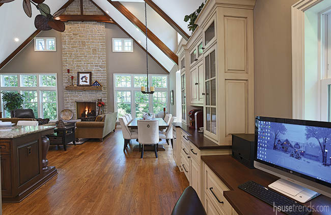Kitchen offers easy access to a work station