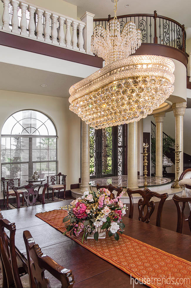 Chandelier adds glamour to a dining room