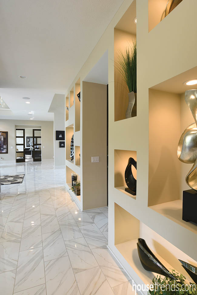 Wall niches display contemporary artwork