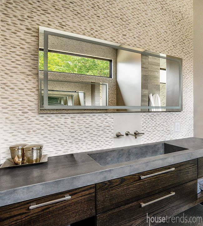 Concrete countertops in a master bath