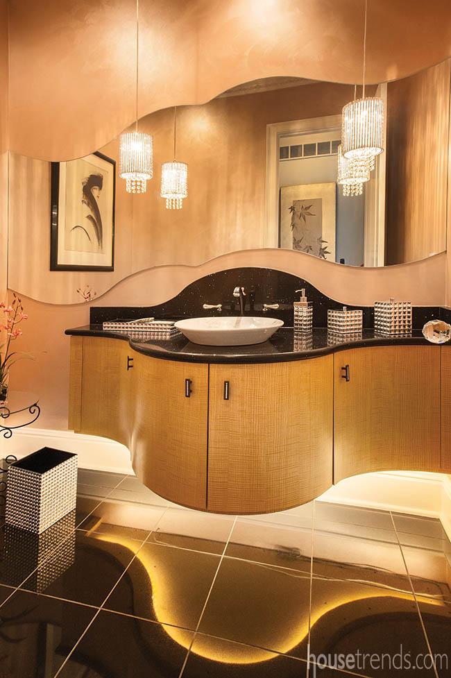 Bathroom vanity in powder room makes waves