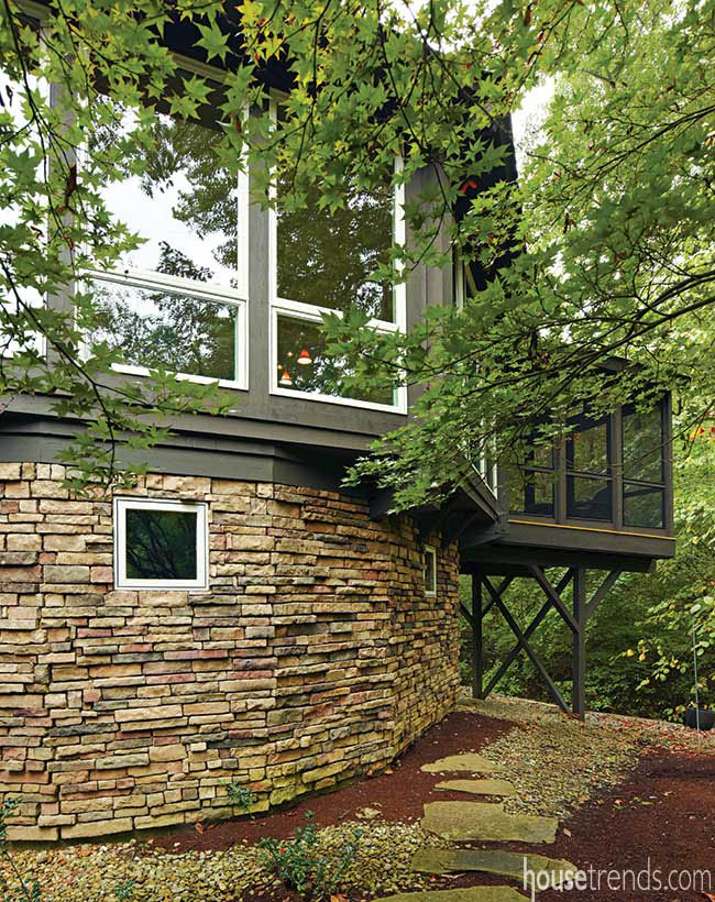 Stone exterior gives a home character