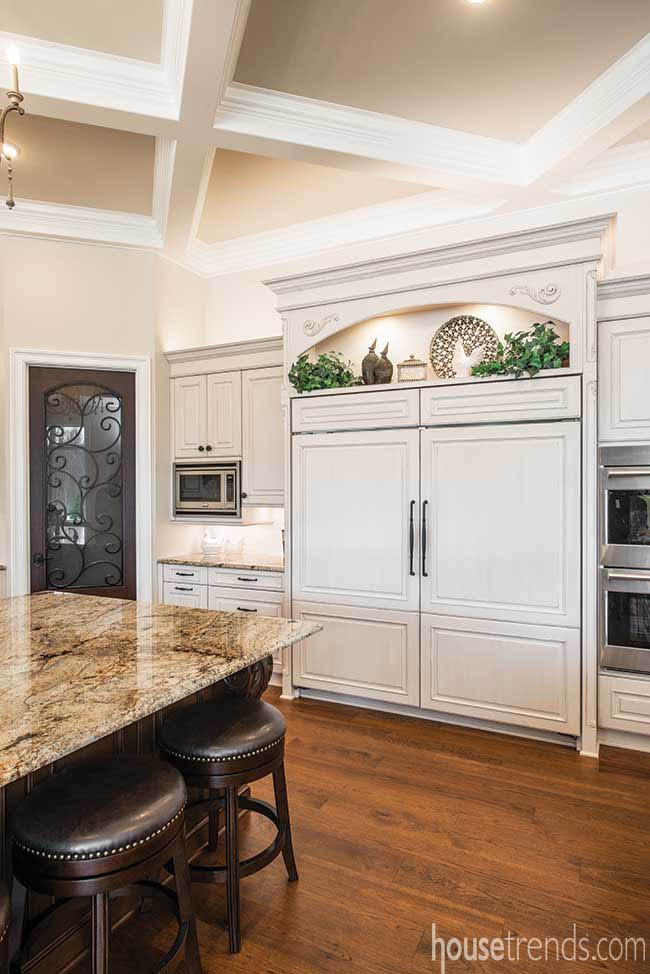 Cabinetry hides refrigerator