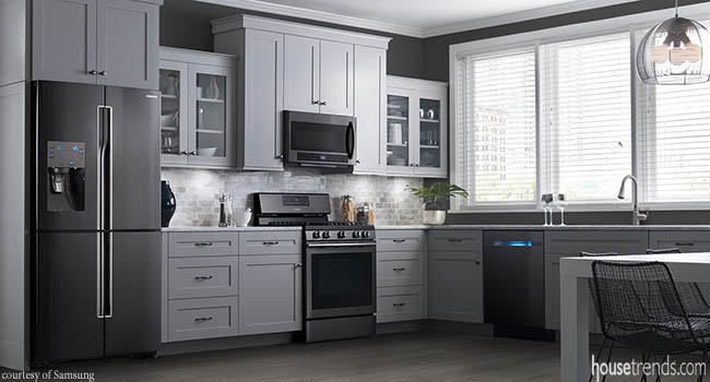 Black stainless steel is a hot trend in kitchen designs