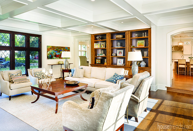Traditional great room with coffered ceiling