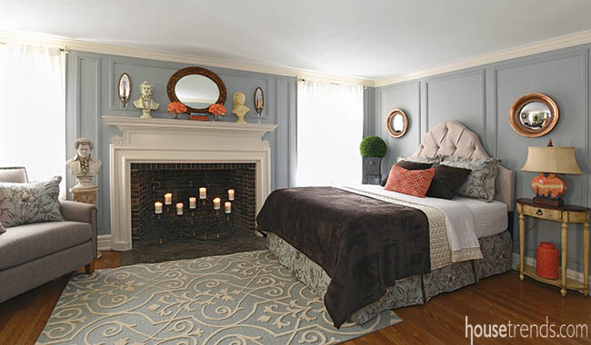 Neutral headboard sets the stage for playful bedroom colors