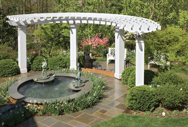 Outdoor water fountains add to a patio's elegance