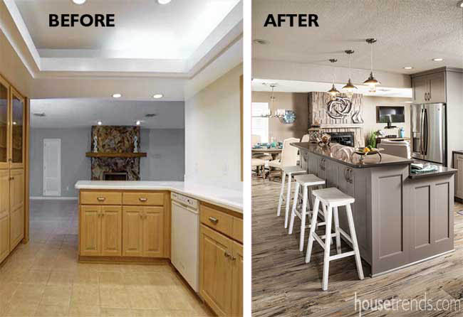 Wall removal results in an open kitchen design