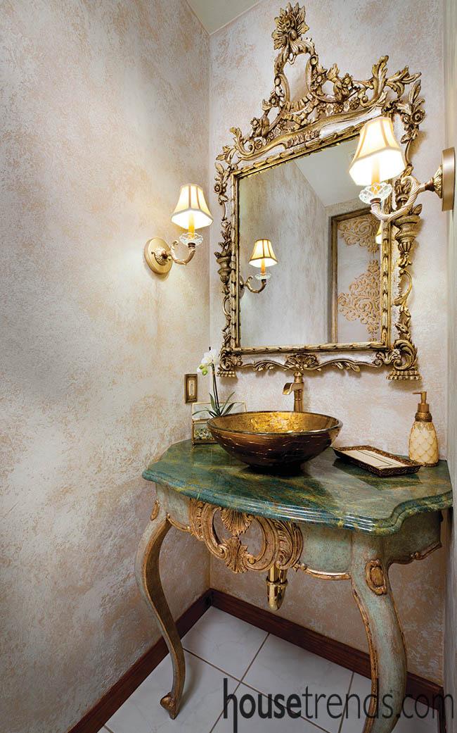 Granite countertop creates a dramatic touch