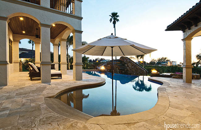 Outdoor living space with a water view