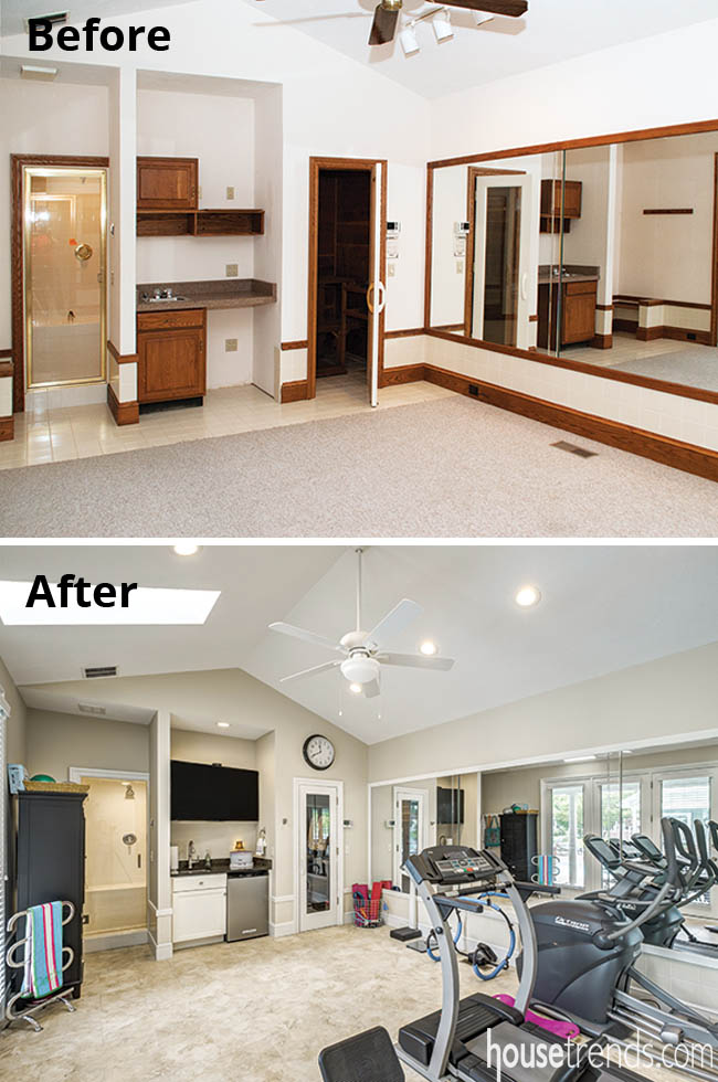 Master bedroom leads to a home gym
