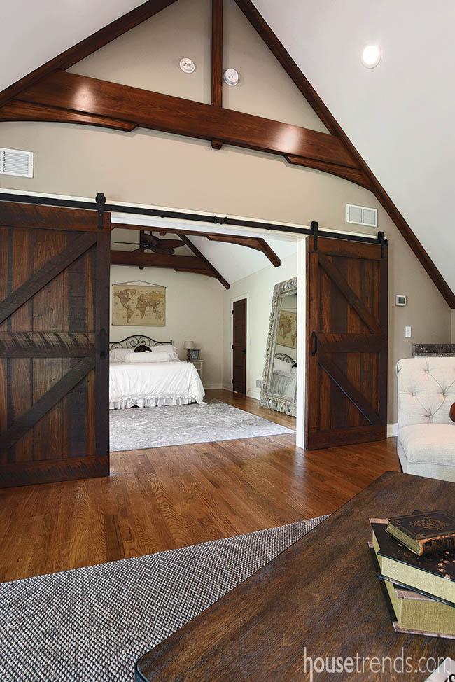 Sliding barn doors offer privacy