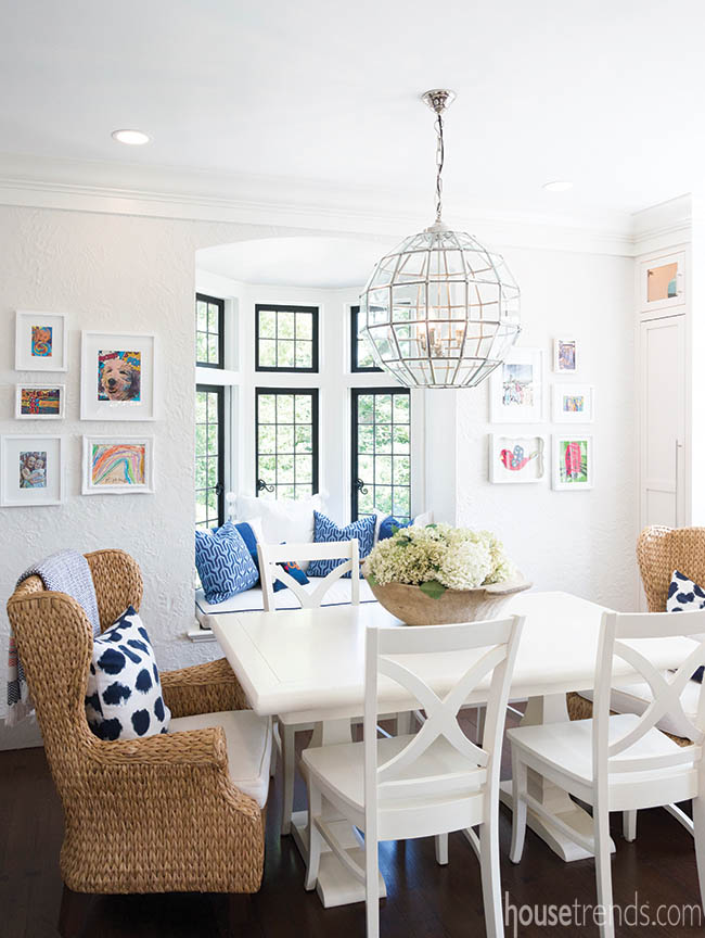 Artwork adds cheery color to a breakfast nook