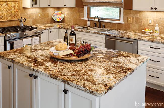 Granite countertops lend a rustic flair