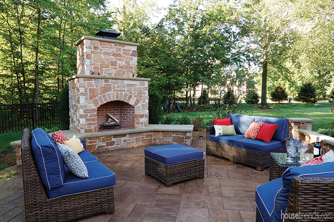 Fireplace warms up a paver patio