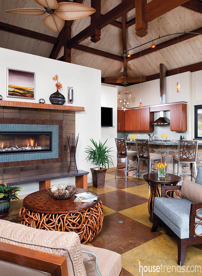 Concrete dominates in a pool house design