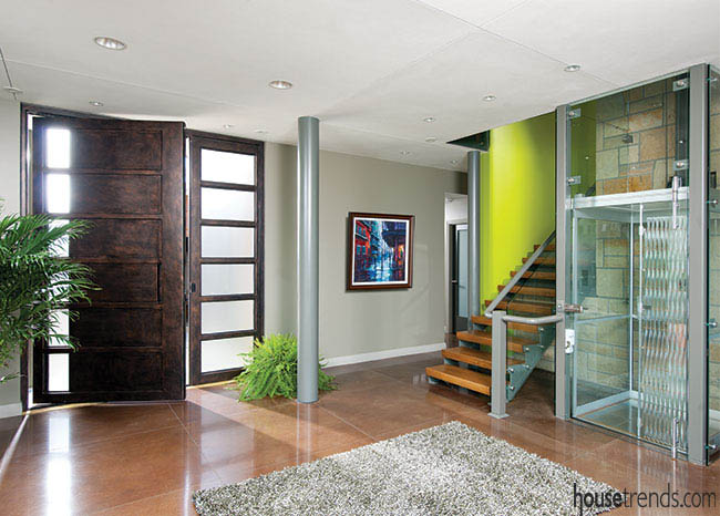 Area rug softens an entry space