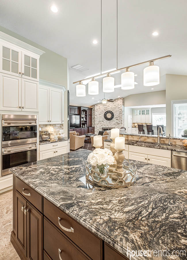 Prep island adds convenience to a remodeled kitchen