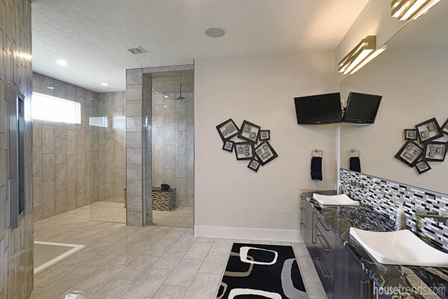 Tile makes a master bathroom pop