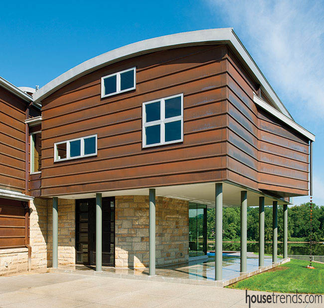Copper siding shines in an eco-friendly home