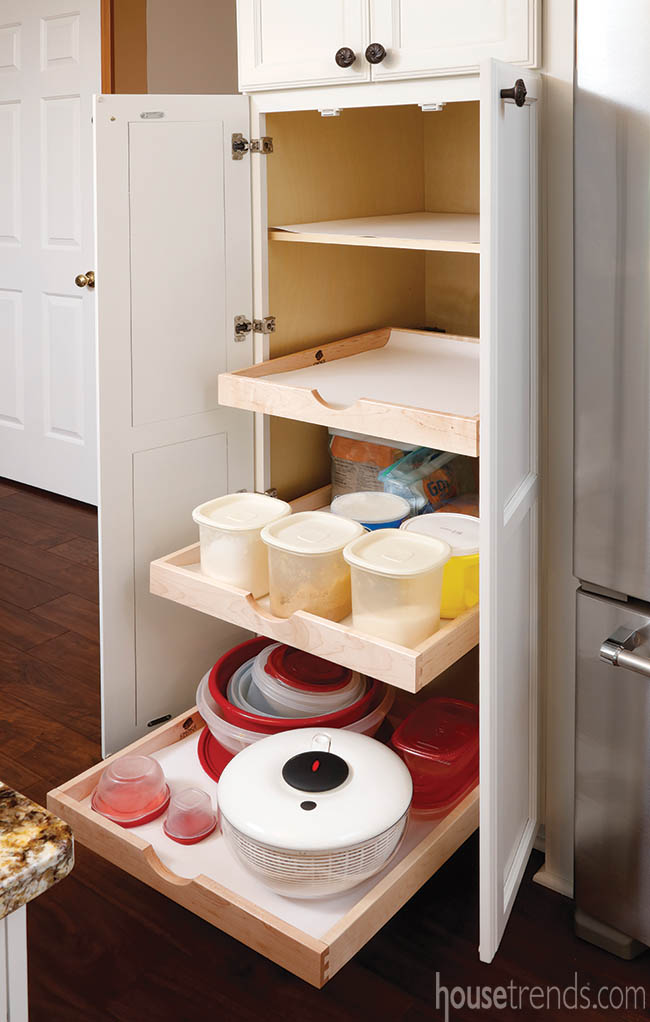 Kitchen storage includes pull-out shelves