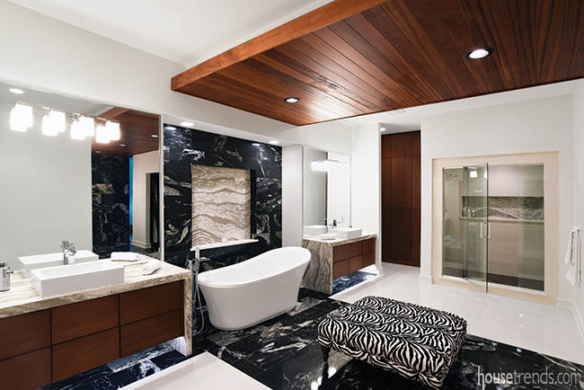Black granite in a master bath