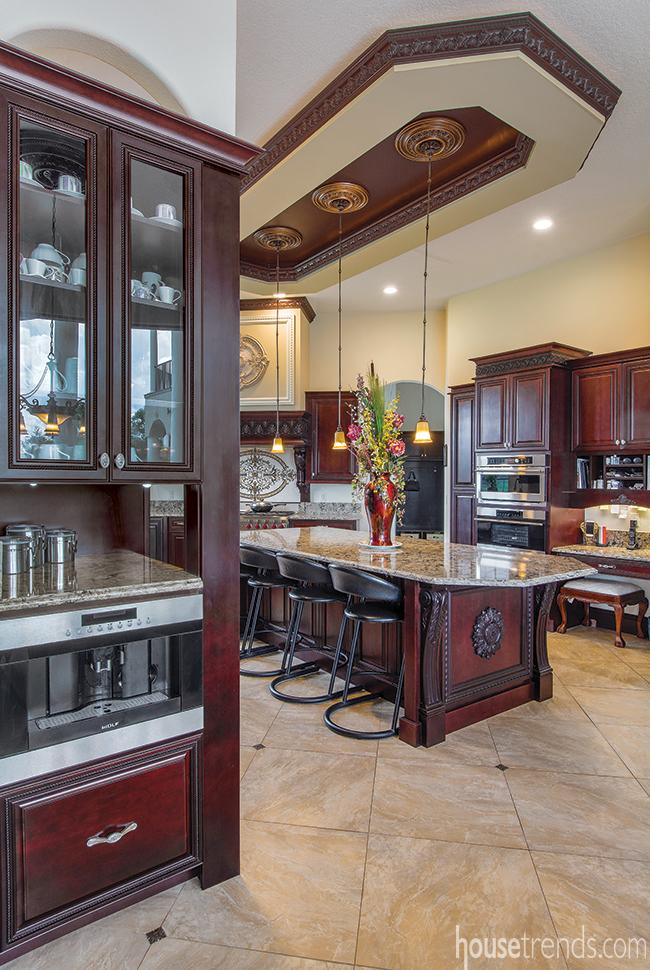 Kitchen design boasts a coffee station
