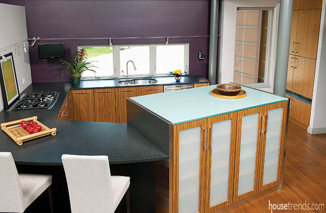 Glass countertops and zebra cabinetry contribute to a stunning kitchen