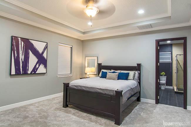 Colors pop in a gray bedroom design