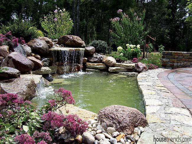 Waterfall bubbles in a back yard