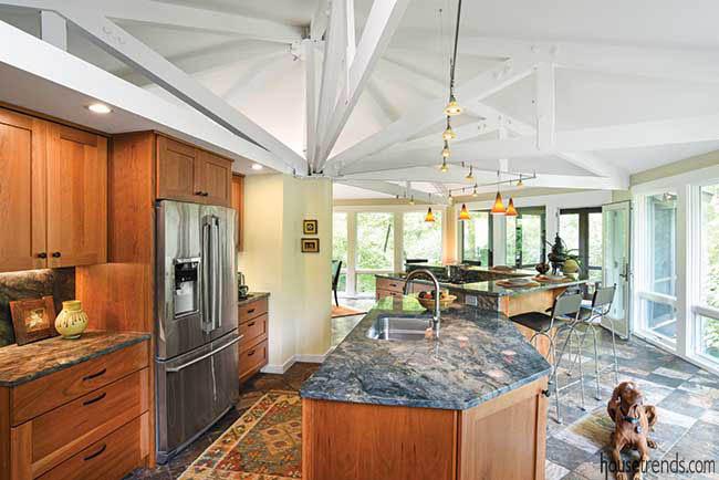 Heated floor in an open kitchen design