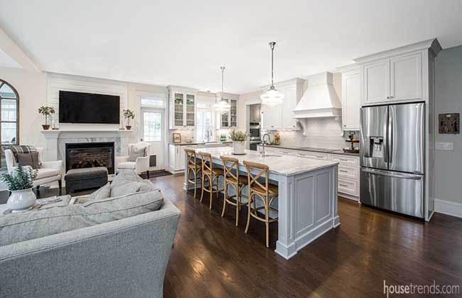 Marble island dominates a kitchen design