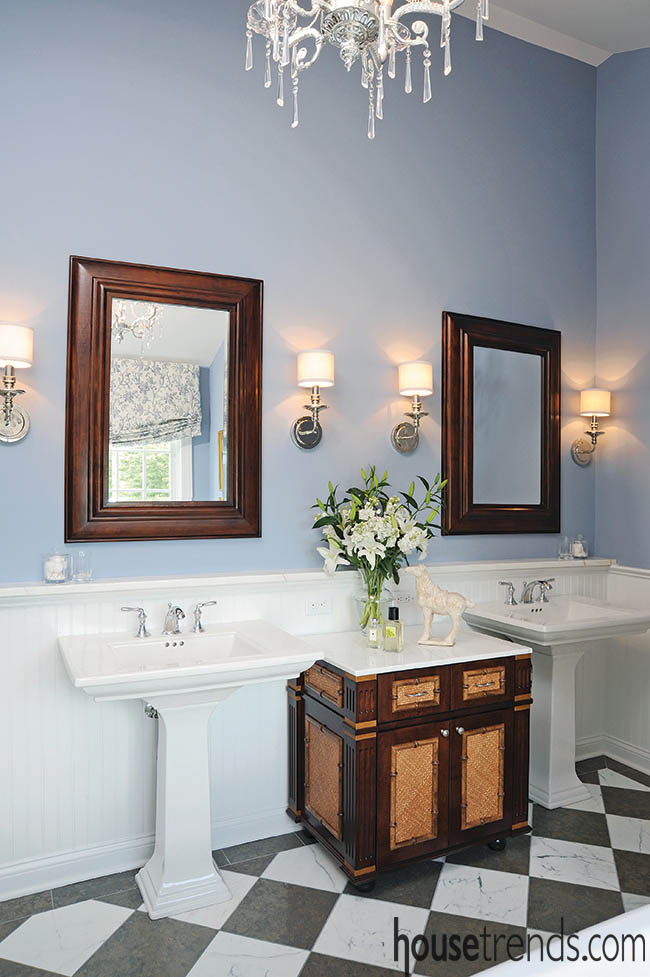 Pedestal sinks with a vacation-home feel