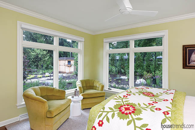 Windows connect a master bedroom to nature