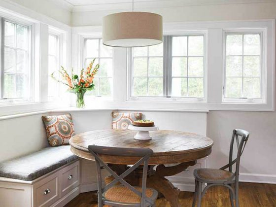 Bench seating in a cozy eating area