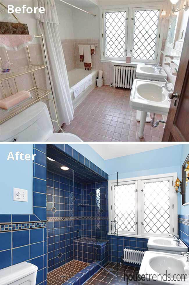 Blue tile dominates a boys' bathroom