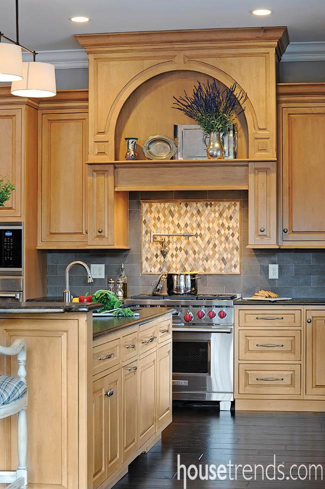 Tile takes over a kitchen backsplash