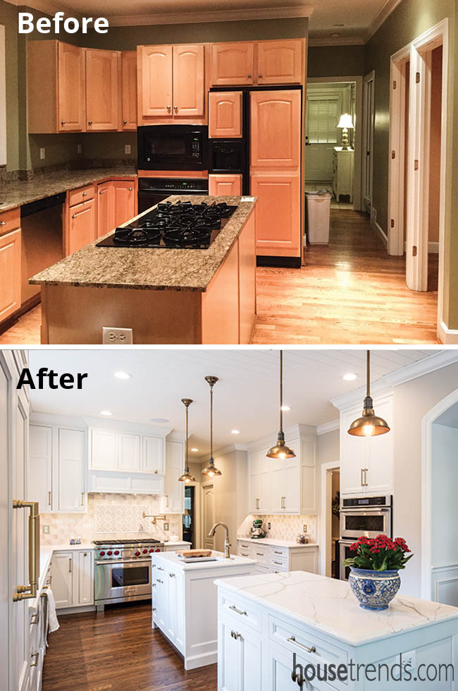 White cabinetry completes a kitchen remodel