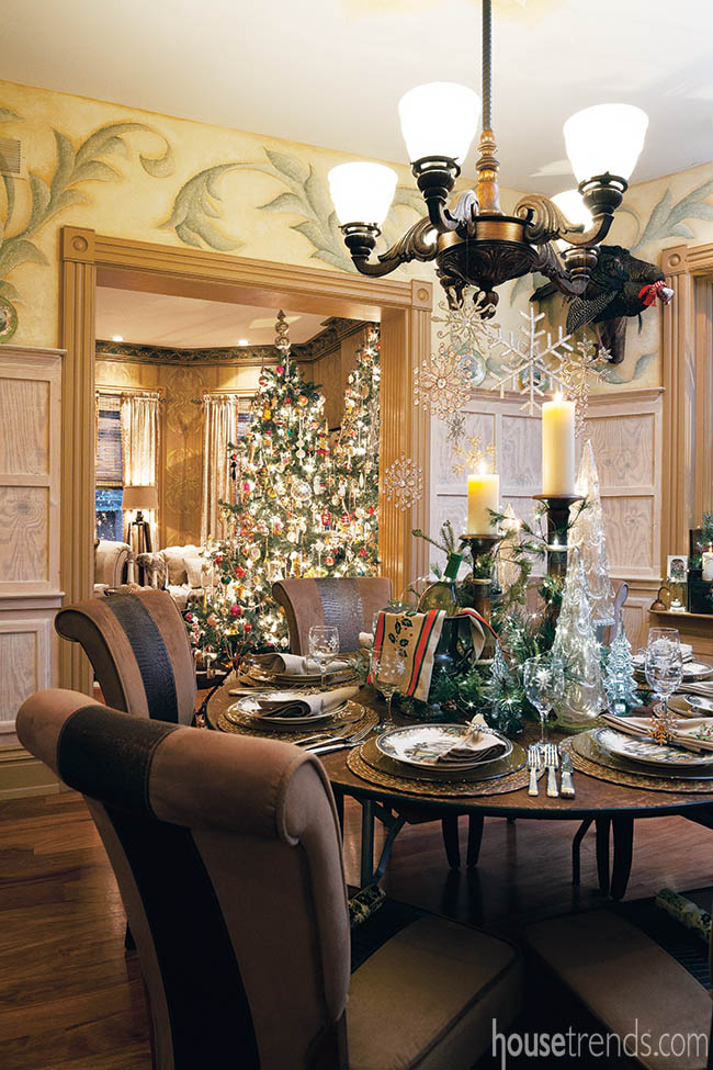 Holiday place settings in a dining room