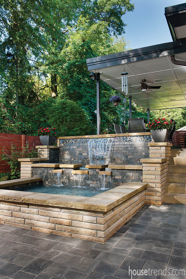 Contemporary water feature makes a splash