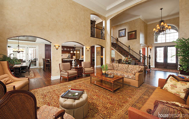 Arches add a unique twist to an open floor plan