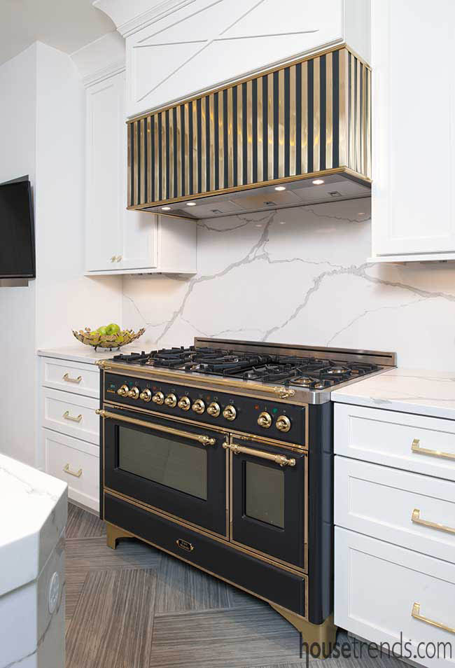 Custom range hood in a remodeled kitchen
