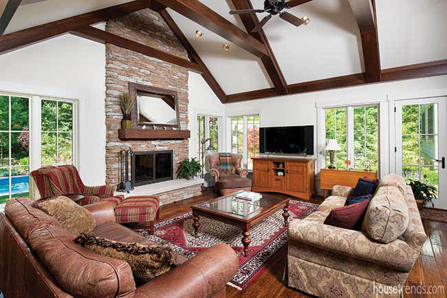Fireplace stretches to a ceiling