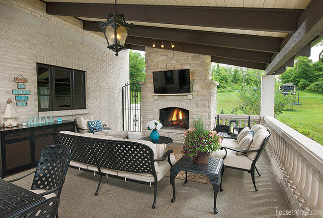 Fireplace warms up a covered patio