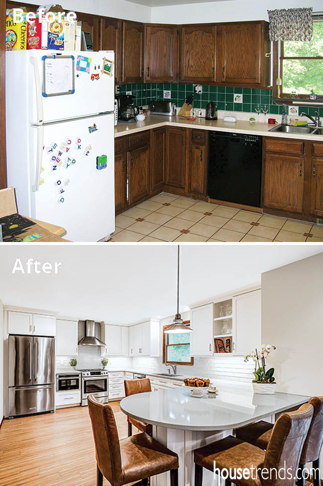 White cabinetry rounds out a kitchen remodel