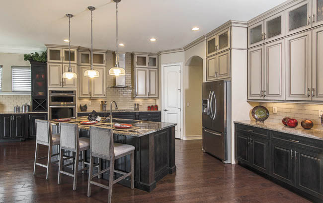 Stain helps a kitchen island stand out