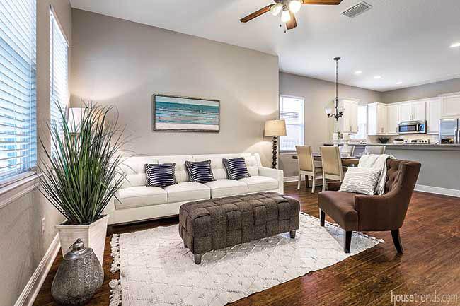 Hardwood floors connect an open floor plan