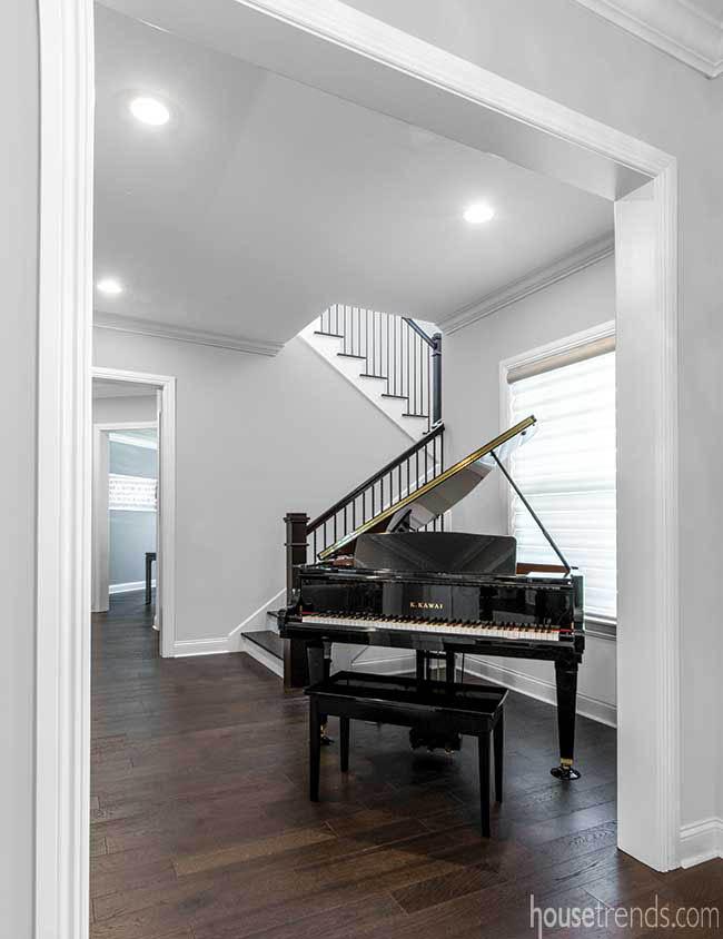 Grand piano dominates a foyer