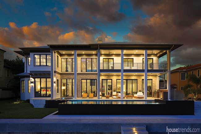 Lighting accentuates oversized windows