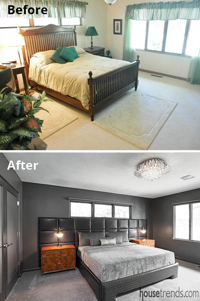 Master bedroom features a leather headboard